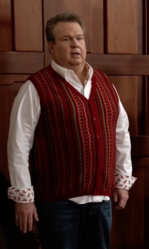 Eric Stonestreet with Volyer Men's Grid Pattern V-Neck Wool Sweater Vest in Modern Family