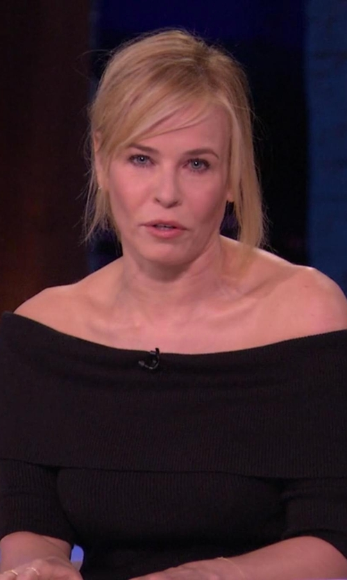 Chelsea Handler with Michael Stars Jersey Lycra Off Shoulder Top in Chelsea