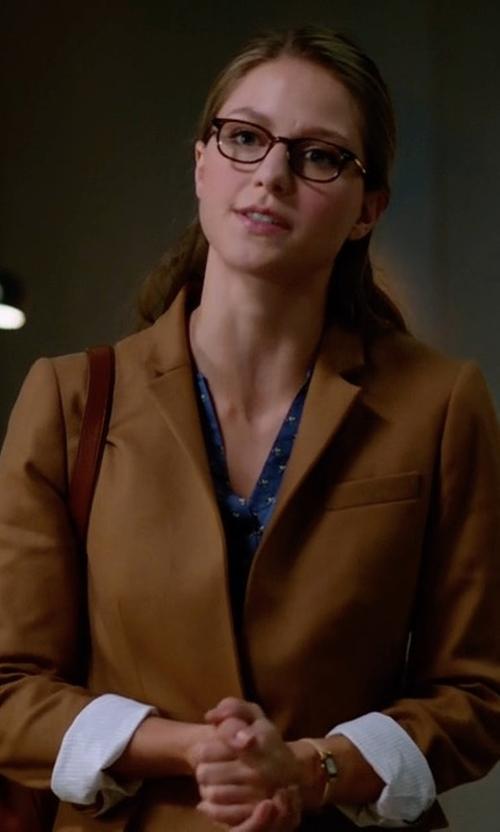 Melissa Benoist with J. Crew Regent Blazer in Supergirl