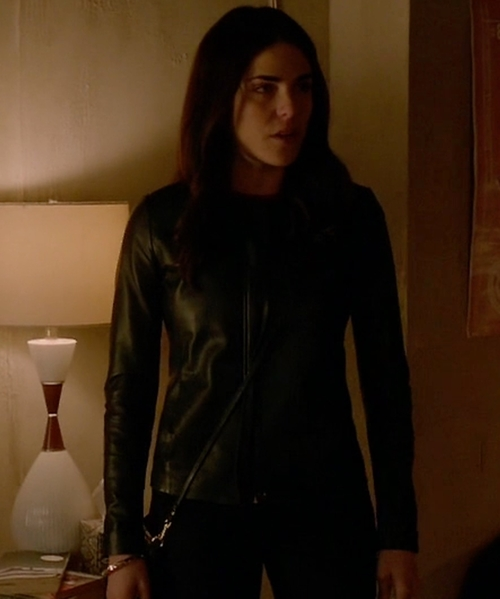 Karla Souza with Saks Fifth Avenue Collection Leather Jacket in How To Get Away With Murder