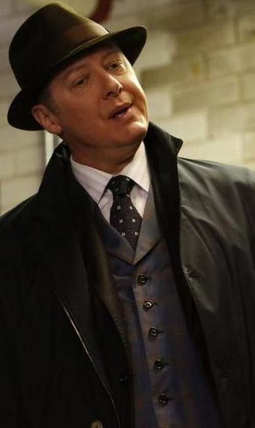 James Spader with Ted Baker Checked Wool Waistcoat in The Blacklist