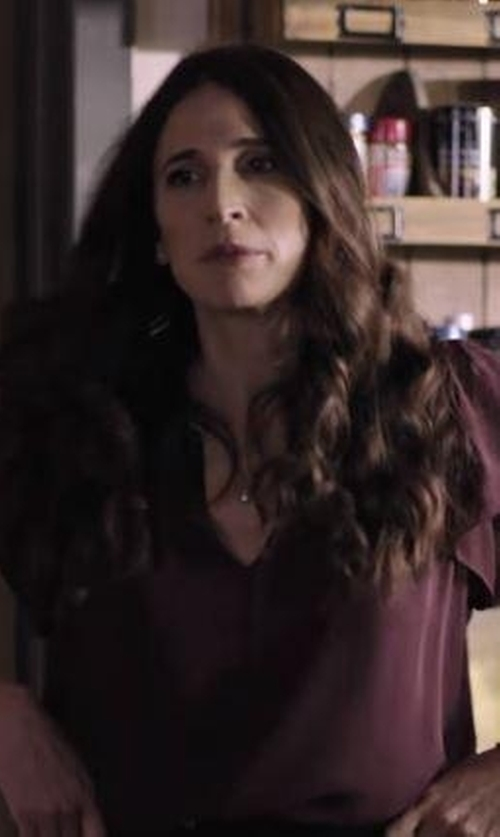 Michaela Watkins with Vince. Split Neck Popover Silk Blouse in Casual