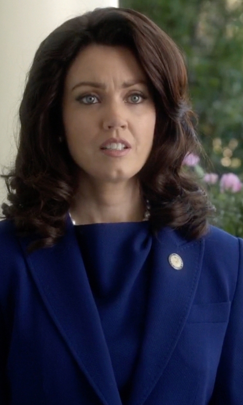 Bellamy Young with Classiques Entier Cowl Neck Silk Blend Top in Scandal