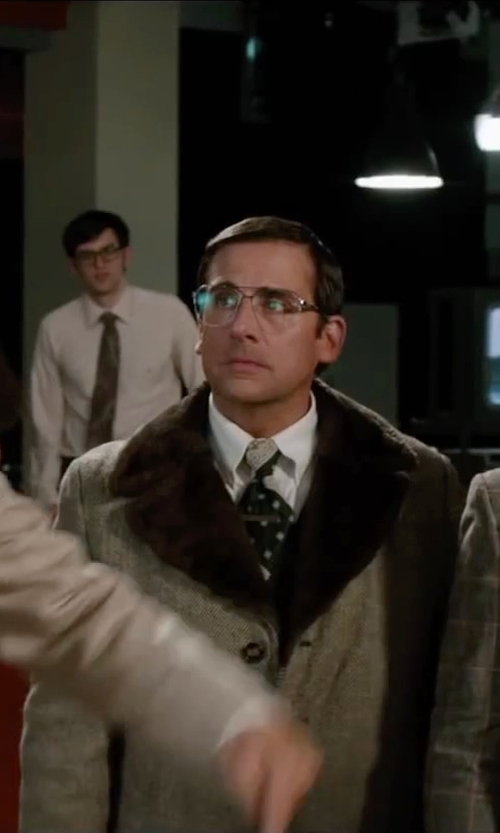 Steve Carell with Burberry London Faux Fur Trimmed Collar Double Breasted Coat in Anchorman 2: The Legend Continues