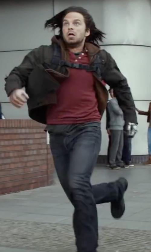 Sebastian Stan with Nudie Jeans Grim Tim Jeans in Captain America: Civil War