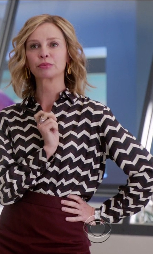 Calista Flockhart with Rag & Bone	 Faye Chevron-Print Silk Shirt in Supergirl