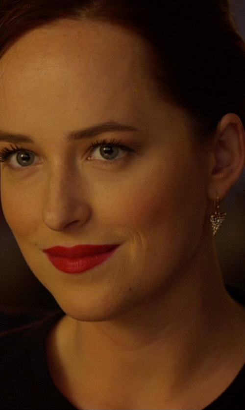 Dakota Johnson with Melinda Maria Pyramid Drop Earrings in Need for Speed