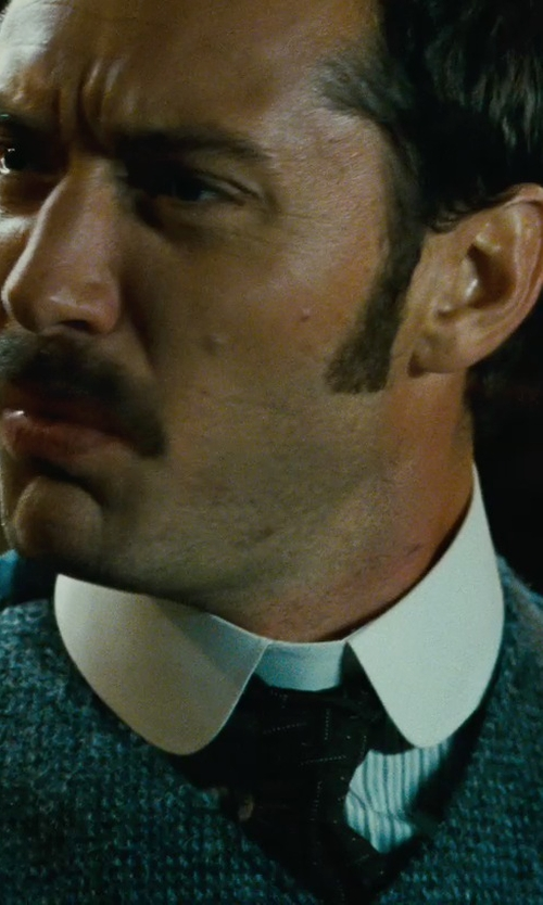 Jude Law with Valentino Stripe Button Down Shirt in Sherlock Holmes: A Game of Shadows