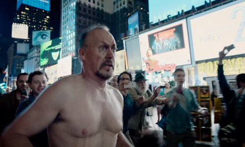 Michael Keaton with Bertelsmann Building New York City, New York in Birdman