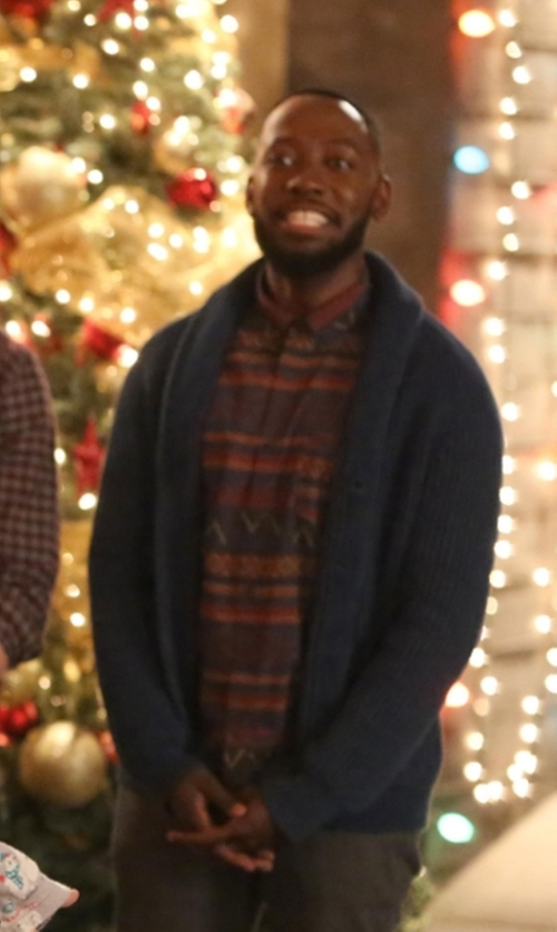 Lamorne Morris with Kolor Striped Button Down Shirt in New Girl
