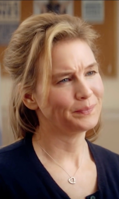 Renée Zellweger with Tiffany & Co Elsa Peretti Open Heart Pendant Necklace in Bridget Jones's Baby