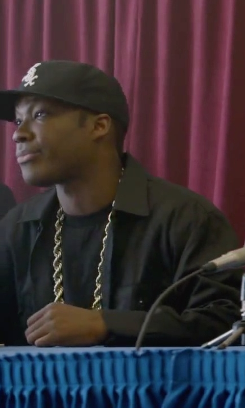 Corey Hawkins with Bling Cartel Gold Plated Rope Dookie Chain Necklace in Straight Outta Compton