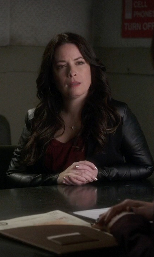 Holly Marie Combs with Halston Heritage Leather Blazer, Black in Pretty Little Liars