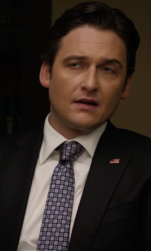 Toby Leonard Moore with Michael Kors Box-Pattern Silk Tie in Billions