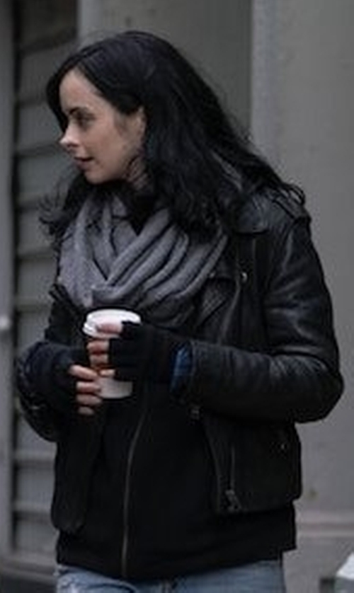 Krysten Ritter with Acne Studios Mape Leather Jacket in The Defenders