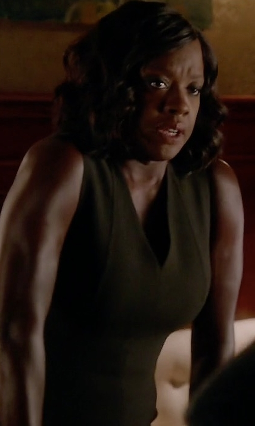 Viola Davis with Elie Tahari Gwenyth Sleeveless V-Neck Sheath Dress in How To Get Away With Murder