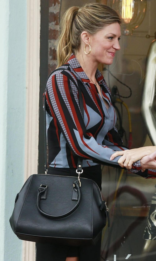 Jes Macallan with Furla Amelia Leather Satchel in Mistresses
