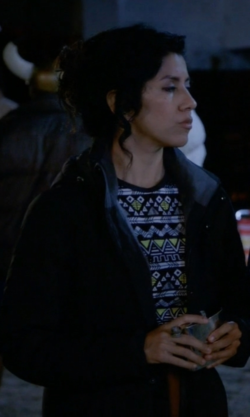 Stephanie Beatriz with Nana Judy Car Coat in Brooklyn Nine-Nine