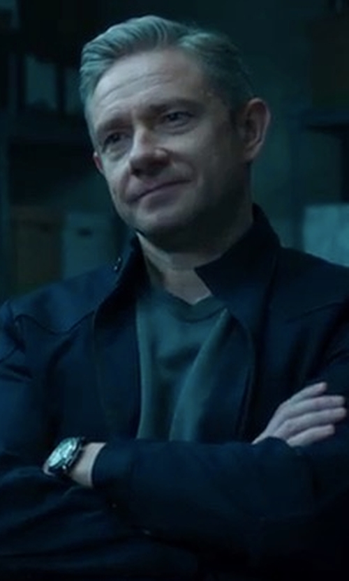 Martin Freeman with Leonard & Church Thompson Leather Strap Watch in Black Panther