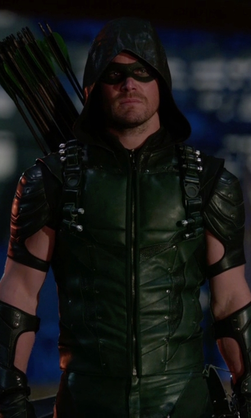 Stephen Amell with Maya Mani (Costume Designer) Custom Made Green Arrow Suit in Arrow