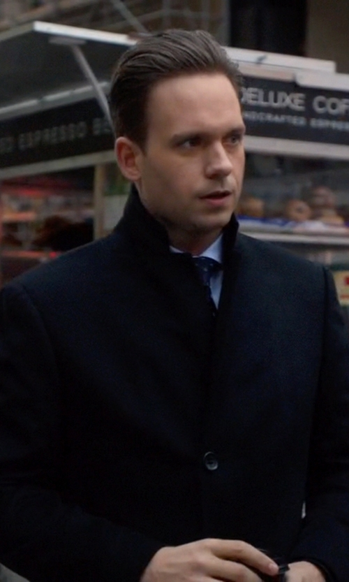 Patrick J. Adams with John W. Nordstrom Cashmere Twill Overcoat in Suits