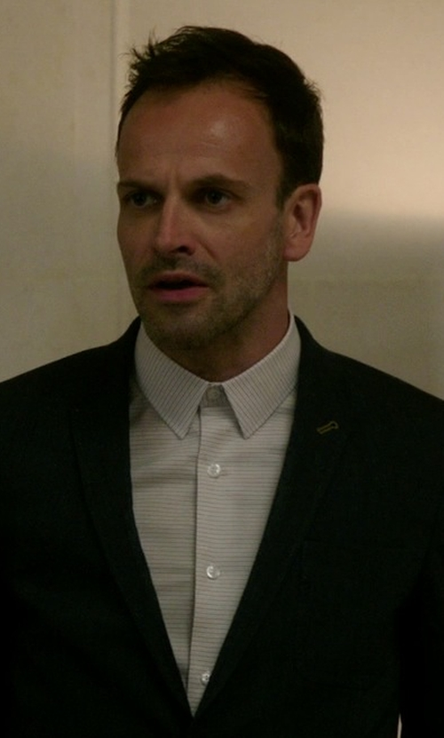 Jonny Lee Miller with Cego Custom Made Pencil Stripe Shirt in Elementary
