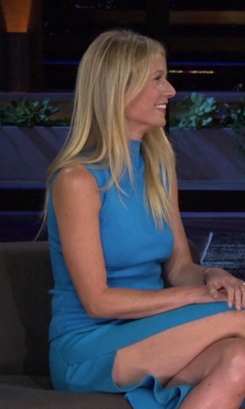 Gwyneth Paltrow with Vince Lasercut Sleeveless Turtleneck Top in Chelsea