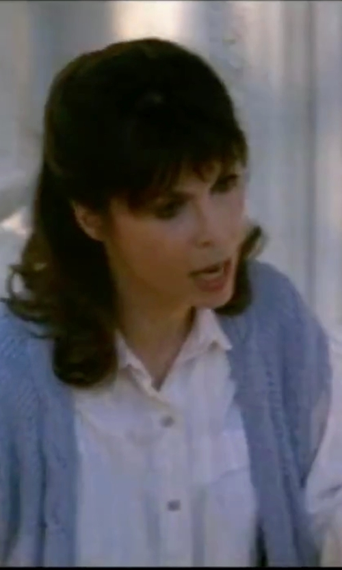 Talia Shire with Simply Be Sleeveless Waterfall Cardigan in Rocky IV