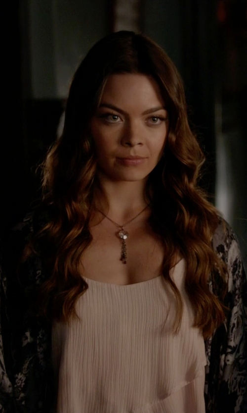 Scarlett Byrne with Vince Camuto Chiffon Asymmetrical Layered Top in The Vampire Diaries