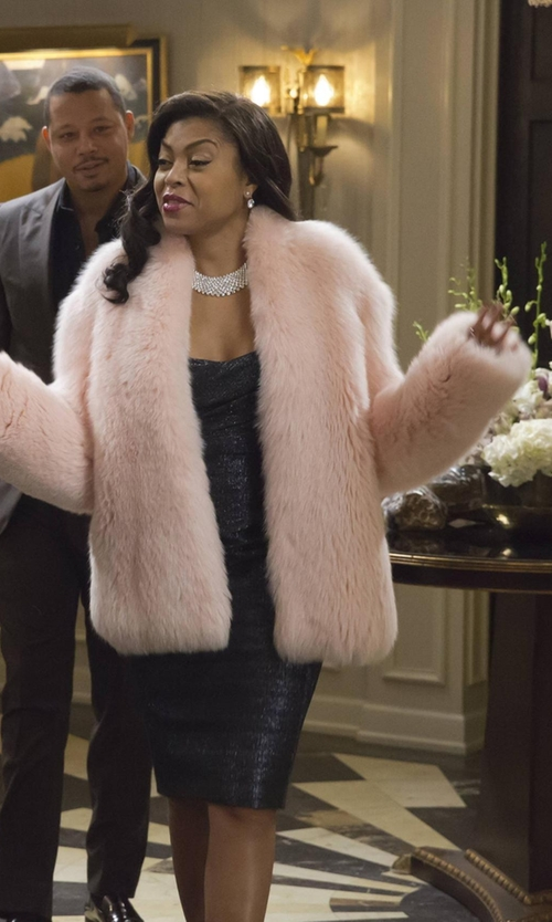 Taraji P. Henson with Altuzarra Fox Fur Coat in Empire