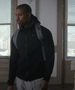 Michael B. Jordan with Nike Tech Fleece Windrunner Zip Hoodie Jacket in Creed