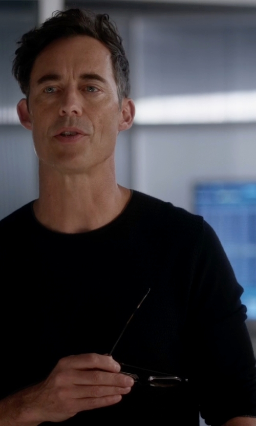 Tom Cavanagh with John Varvatos Star USA Leather-Trimmed Crewneck Sweater in The Flash