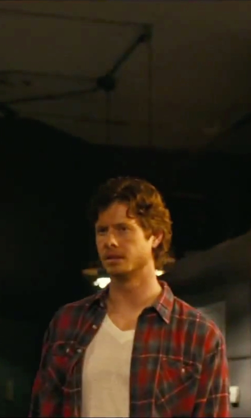 Anders Holm with Barney Cools 'Septum' Trim Fit Plaid Twill Woven Shirt in How To Be Single