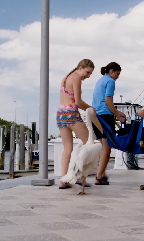 Cozi Zuehlsdorff with Jacee Zig Zag Tribal Print Chiffon Beach Shorts in Dolphin Tale 2