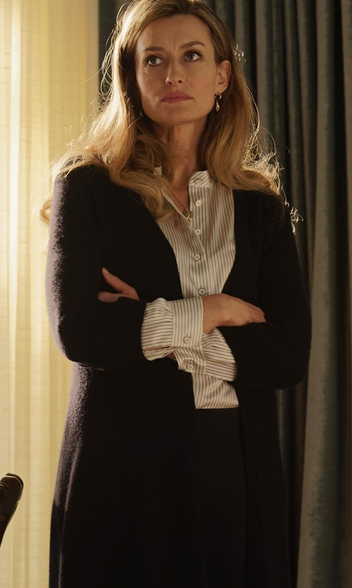 Natascha McElhone with Eileen Fisher Washable Wool Kimono Duster Cardigan in Designated Survivor