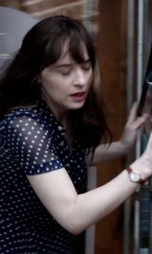 Dakota Johnson with Shinola Runwell Rose Leather Strap Watch in Fifty Shades Darker