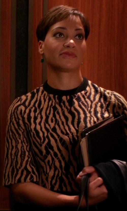 Cush Jumbo with Animal World Zebra Print  T-Shirt in The Good Wife