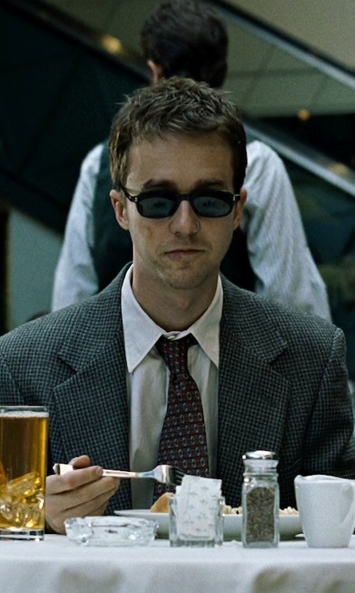 Edward Norton with Giorgio Armani Basic Cotton Dress Shirt in Fight Club