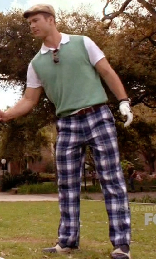 Glen Powell with Vivienne Westwood Checked Straight Trousers in Scream Queens