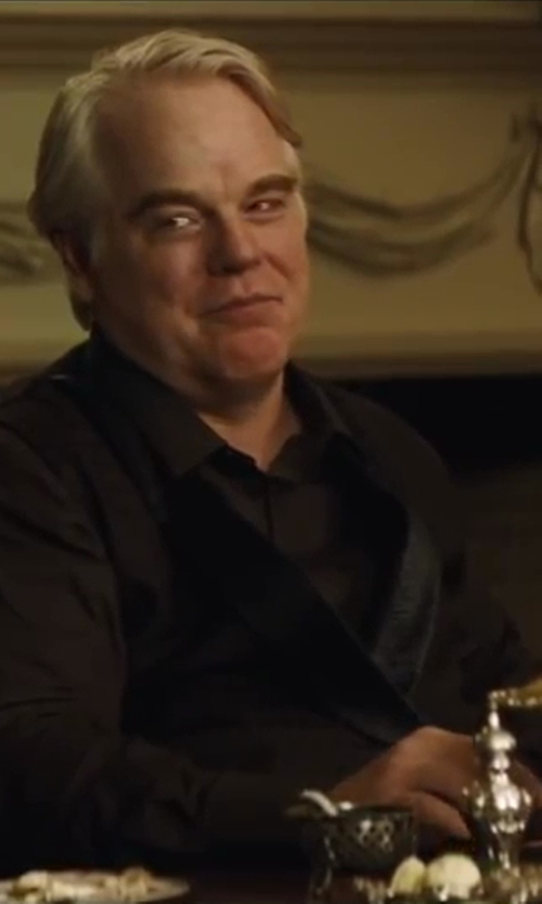 Philip Seymour Hoffman with Anto Beverly Hills Custom Made Dress Shirt in The Hunger Games: Catching Fire