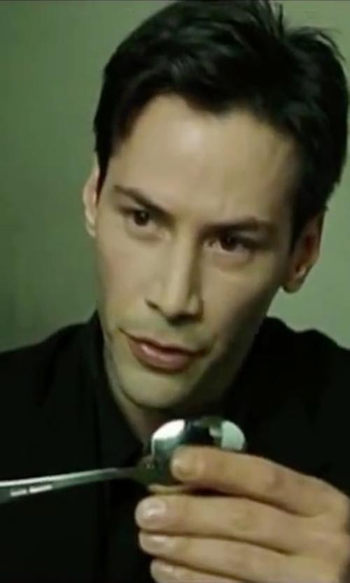 Keanu Reeves with Lauren Ralph Lauren Men's Black Tuxedo Suit in The Matrix
