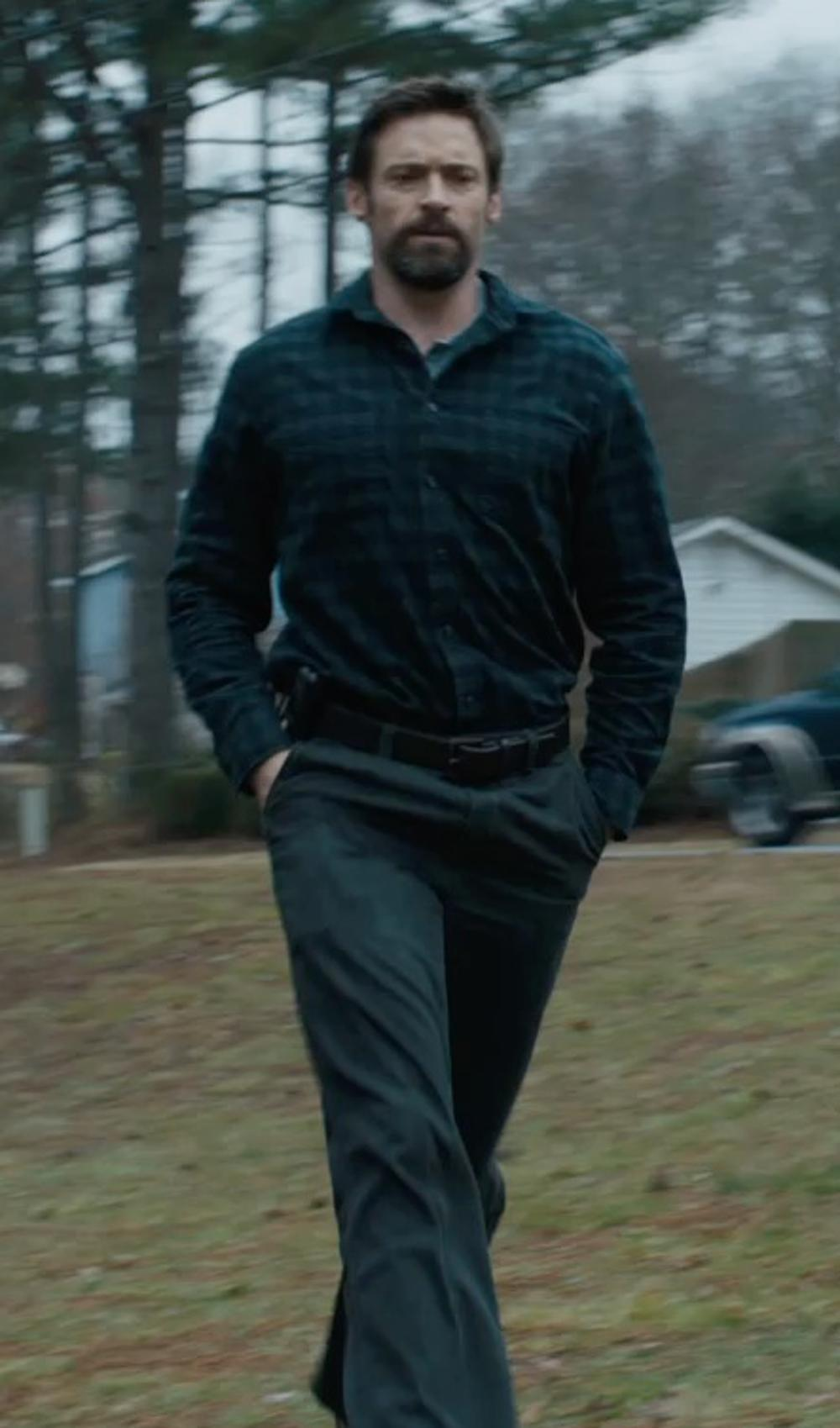 Hugh Jackman with Henry Cotton's Casual Pants in Prisoners