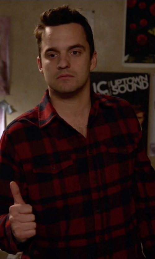 Jake Johnson with Stormy Kromer Flannel Shirt in New Girl