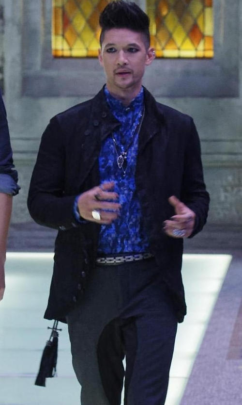 Harry Shum Jr. with John Varvatos Velvet Multi Button Jacket in Shadowhunters