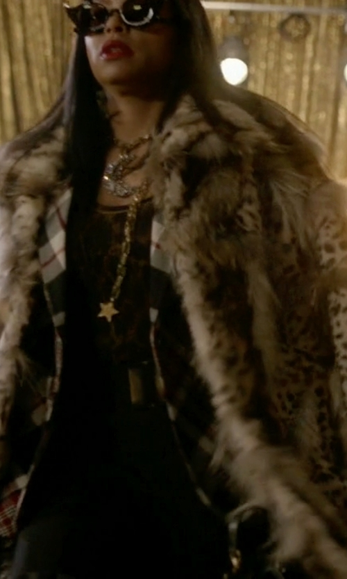 Taraji P. Henson with Topshop Unique D'arblay Cheetah-Print Shearling Coat in Empire
