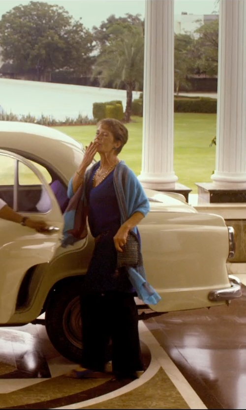 Celia Imrie with Vince Camuto Sleeveless V-Neck Blouse in The Second Best Exotic Marigold Hotel