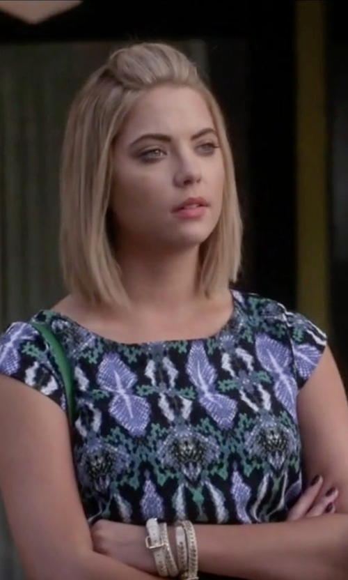 Ashley Benson with Tory Burch Double-Wrap Leather Logo Bracelet in Pretty Little Liars