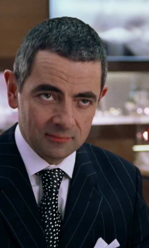 Rowan Atkinson with White Gallery Pinstriped Suit in Love Actually