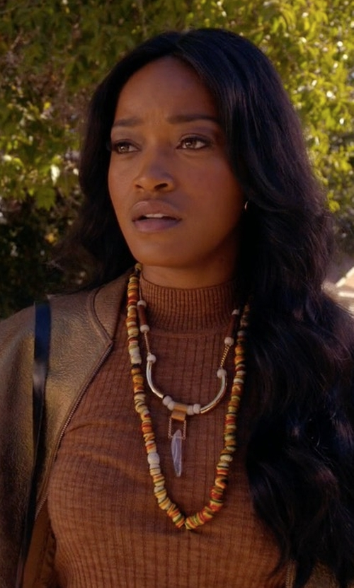 Keke Palmer with 3.1 Phillip Lim Knitted Sleeve Bomber Jacket in Scream Queens