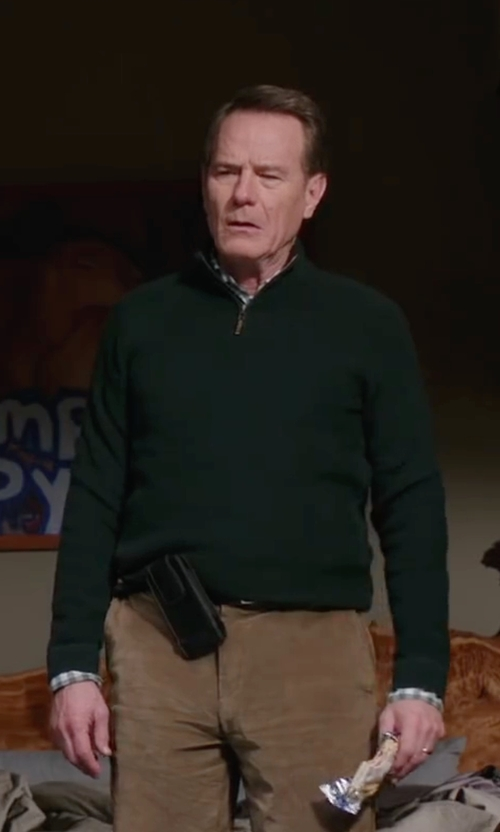 Bryan Cranston with Lacoste Quarter-Zip Cotton Sweater in Why Him?